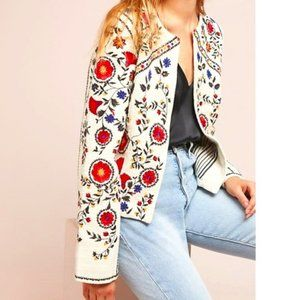 For The Republic Embroidered Crop Jacket